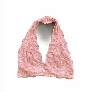 Dusty Rose Lace Halter Bralette